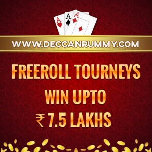Rummy freeroll tournaments up to Rs. 7.5 lakhs